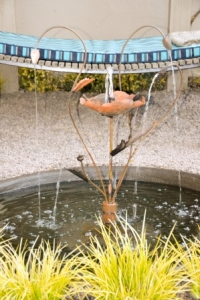 Relax to the tinkling sound of a small waterfeature